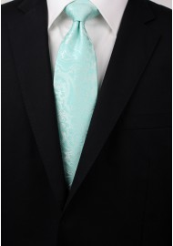 Glacier Blue Necktie with Paisley Print Styled