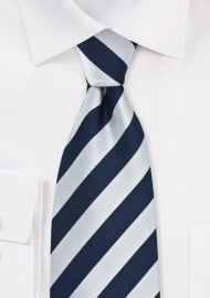Navy and Silver Mens Necktie