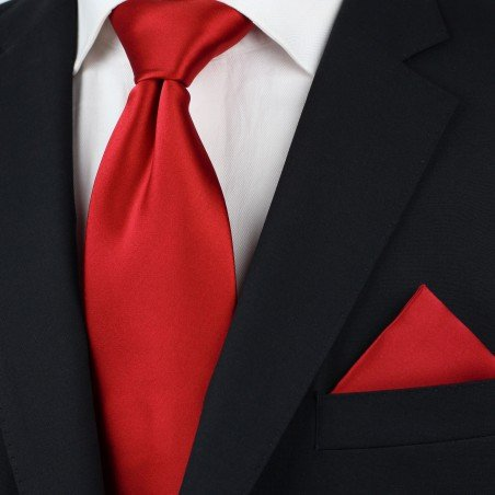 Red men's ties - Solid cherry red tie styled
