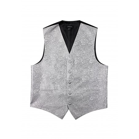 Formal Paisley Vest in Silver