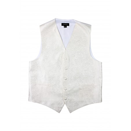 Ivory Wedding Vest with Paisley Design