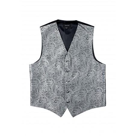 Paisley Dress Vest in Mercury Silver