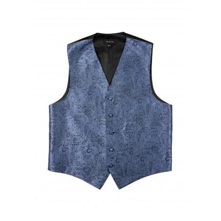 Paisley Dress Vest in Steel Blue