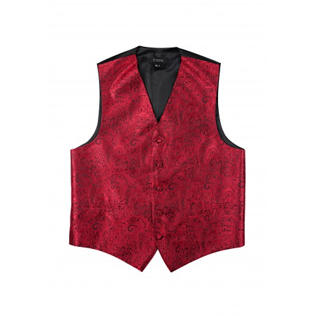 Formal Paisley Vest in Ruby Red