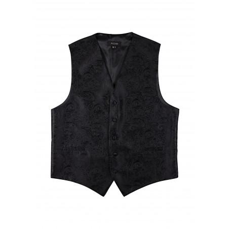 Black Mens Dress Vest with Paisley Design