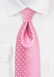 Flamingo Pink Polka Dot Kids Tie