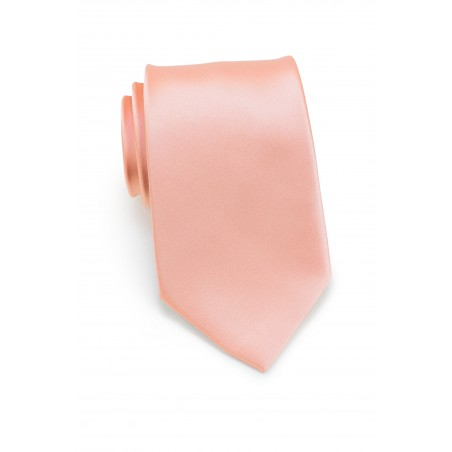 Solid Extra Long Tie in Pink-Coral Color