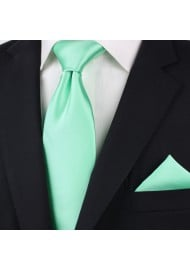 Bright Mint Colored Tie in Long Length Styled