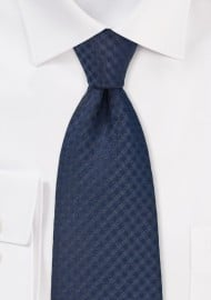Solid Gingham Check Tie in Navy