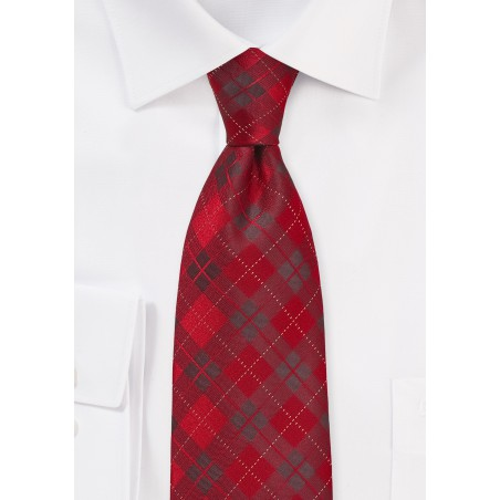 Kids Plaid Tie in Apple Red