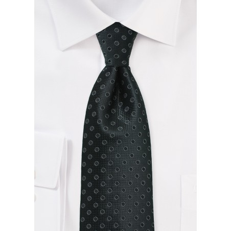 XL Length Tie in Black with Woven Dots