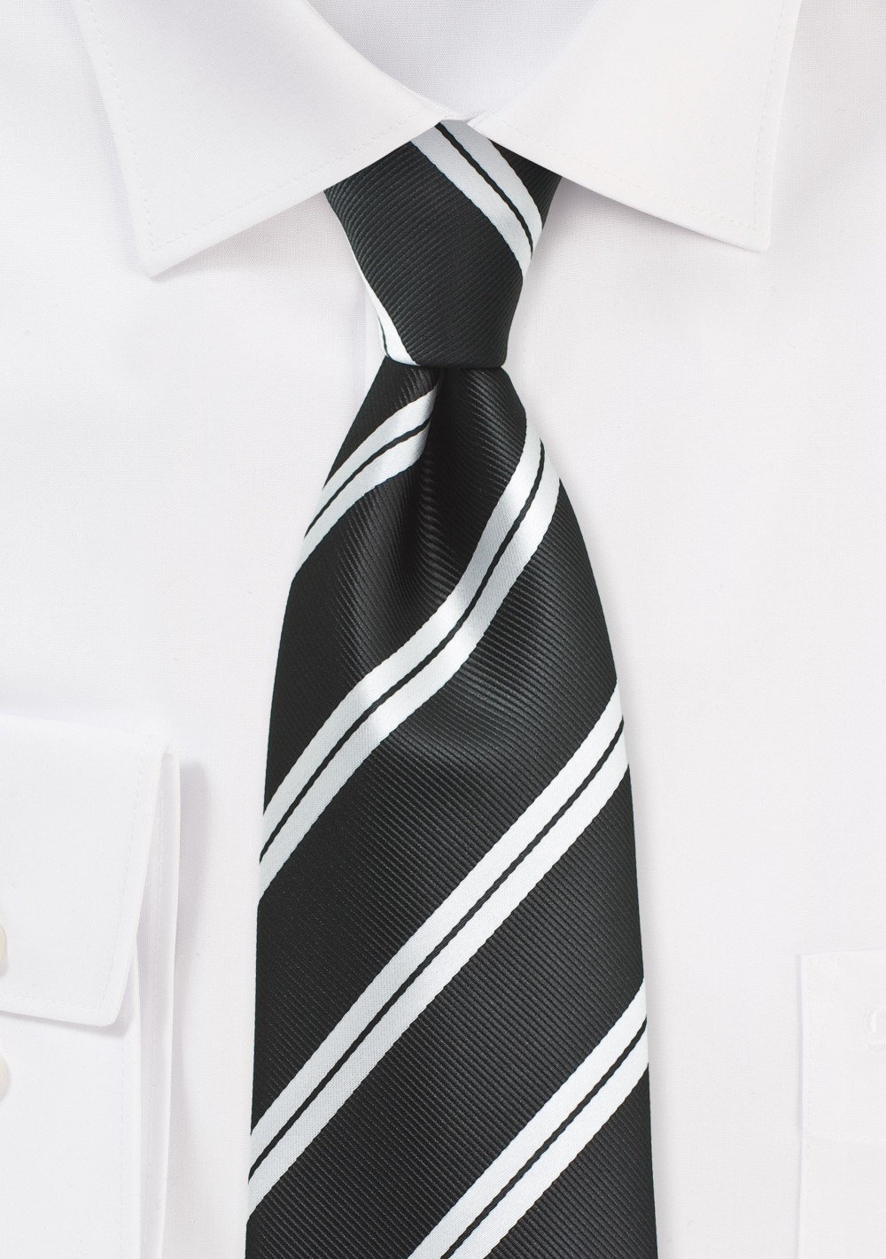 Black Repp Tie with Shiny Silver Stripes