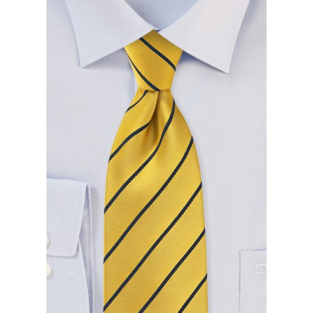 Classic Striped Tie in Yellow and Midnight Blue