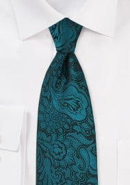 Elegant Paisley Tie in Peacock Teal