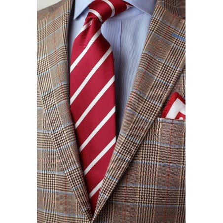 Bright Red and White Striped Tie Styled
