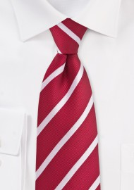 Bright Red and White Repp Striped Kids Tie