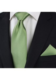 Sage Color Tie for Tall Men Styled