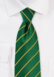Bright Striped Tie in Greens and Golds in Kids Size