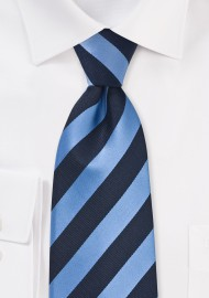 Striped XL Size Tie in Navy and Light Blue