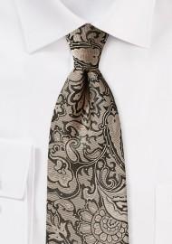 Golden Bronze Paisley Tie