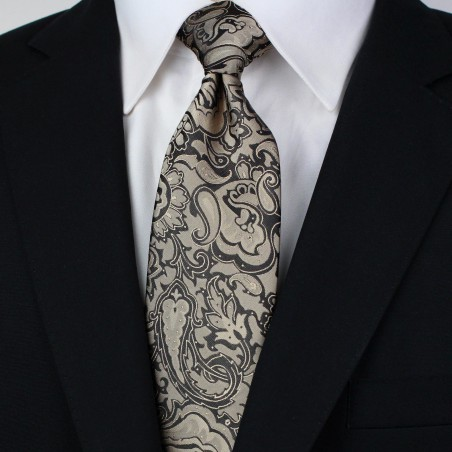 Golden Bronze Paisley Tie Styled