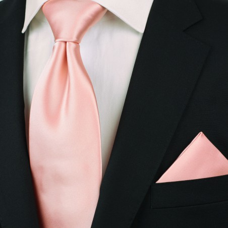 Candy Pink Color Tie in XL Length Styled