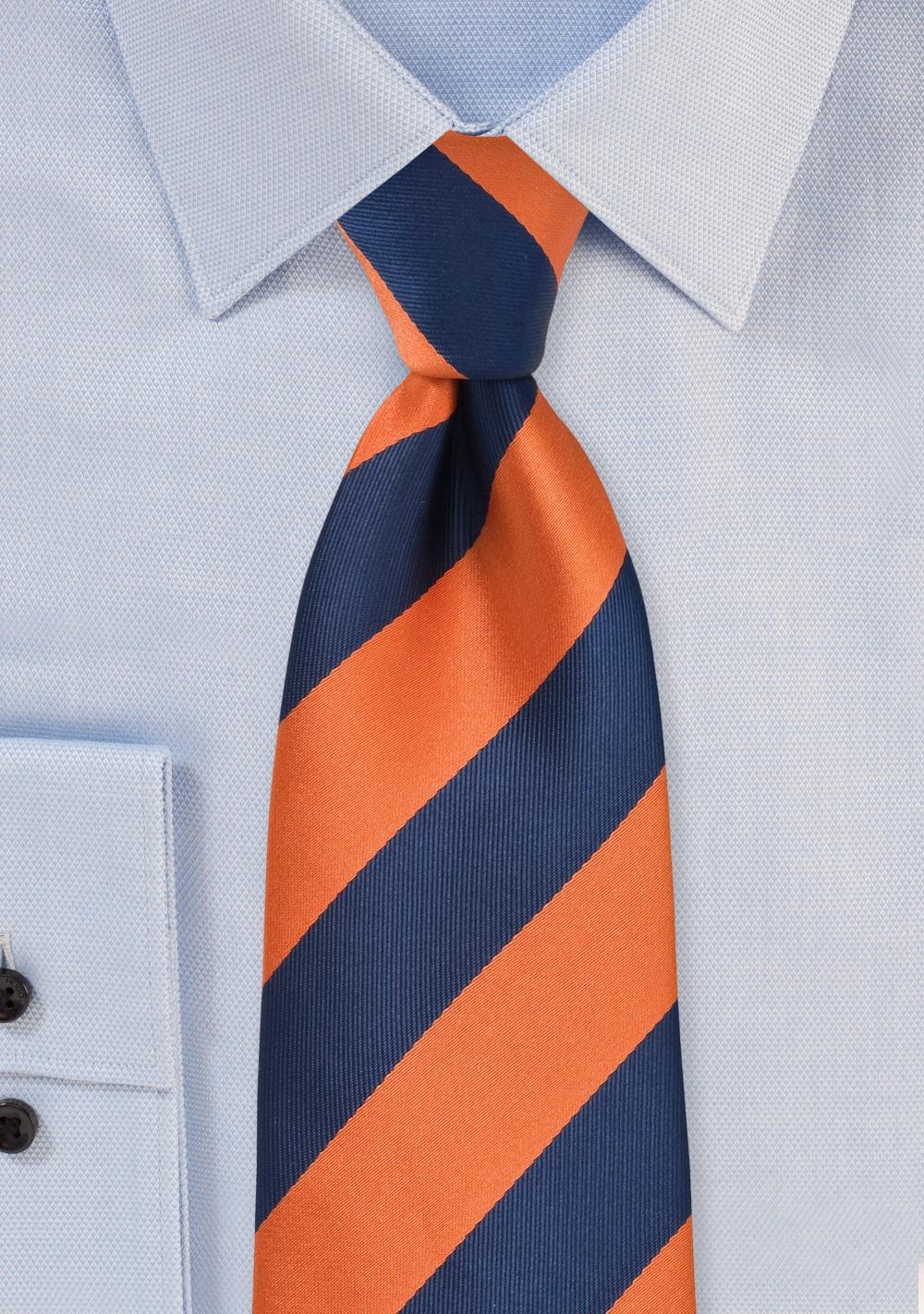 Preppy Kids Tie in Orange and Navy