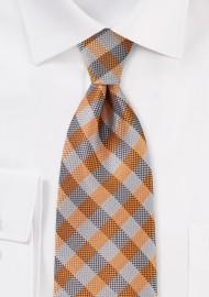 Burnt Orange and Gray Plaid Tie