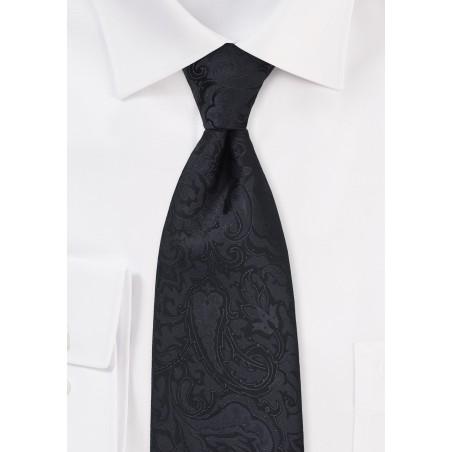 Monochromatic Paisley Tie in Jet Black