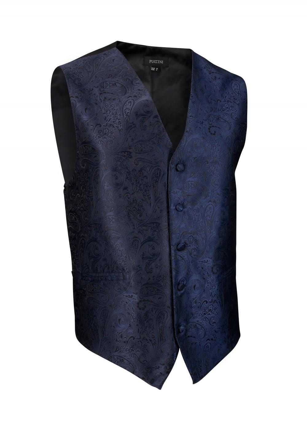 Mens Paisley Dark Blue Navy Textured Formal Vest