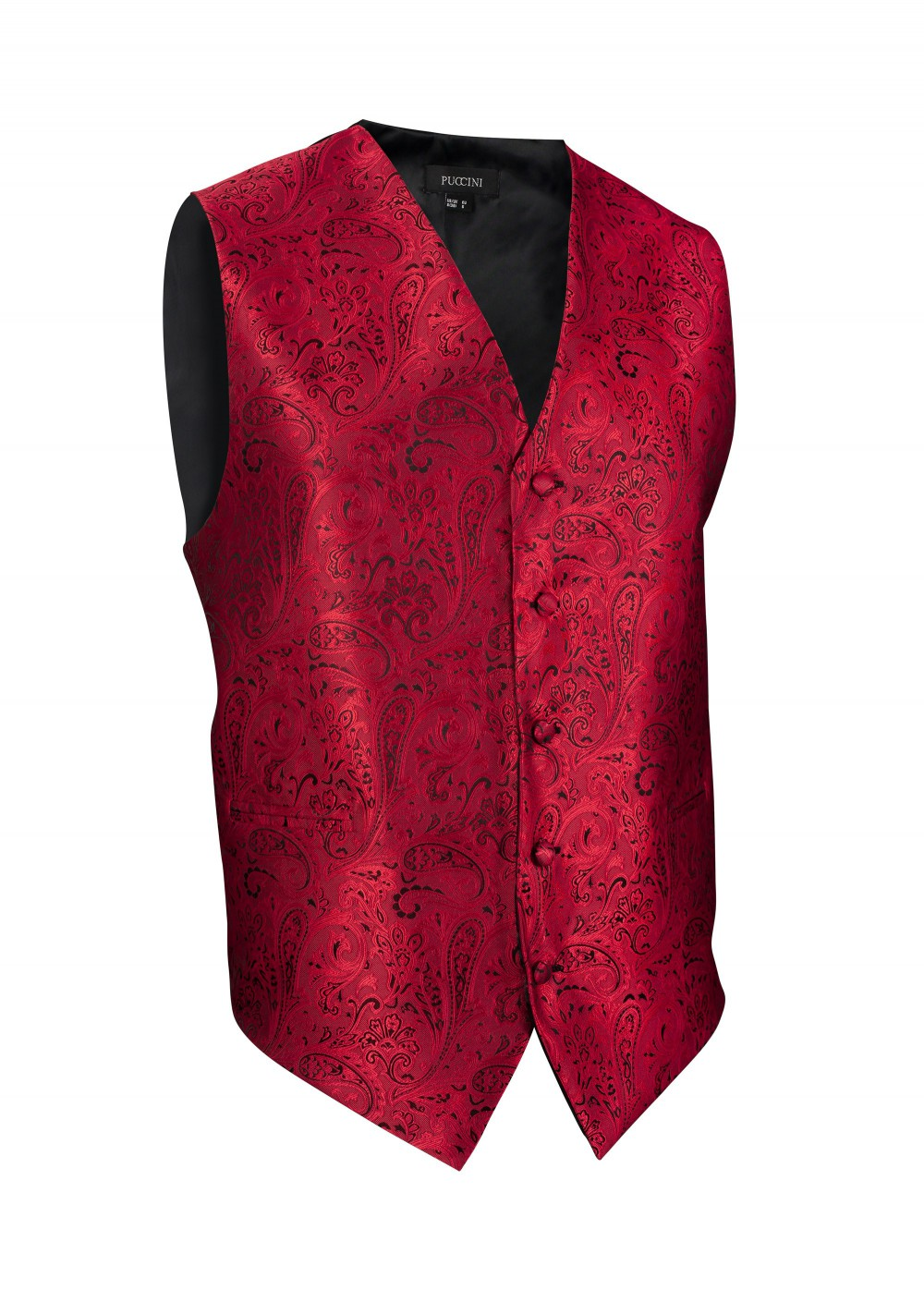 Formal Paisley Vest in Rich Cherry Red