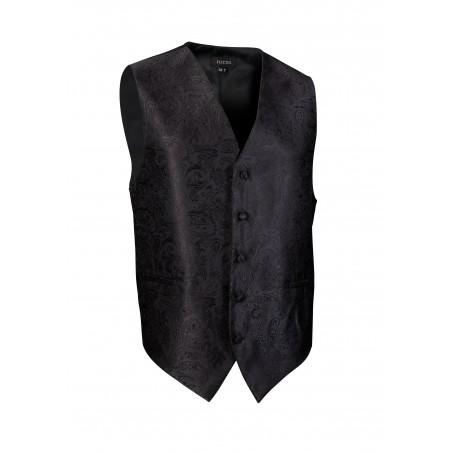 Shiny Jet Black Mens Dress Vest with Paisley Textured Design