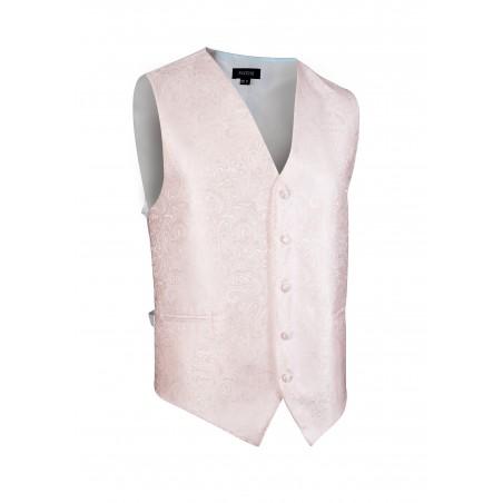 Shiny Wedding Paisley Textured Vest in Soft Blush Pink