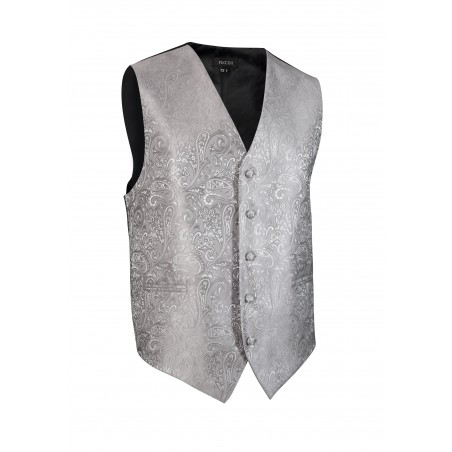 Formal Paisley Textured Vest in Shiny Silver