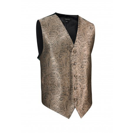Formalwear Paisley Textured Vest in Bronze Burnished Gold