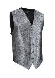 Shiny Paisley Textured Dress Vest in Mercury Metallic Silver