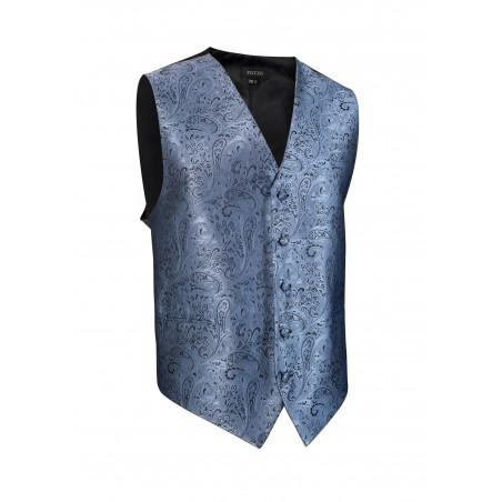 Paisley Textured Dress Vest in Steel Blue