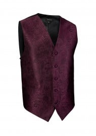Burgundy Paisley Textured Dress Vest