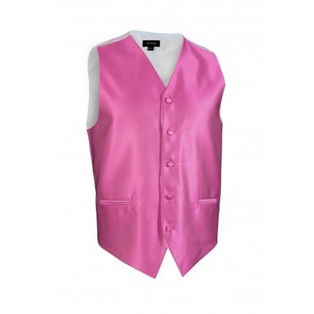 Mens Textured Dress Vests in Bright Begonia Pink