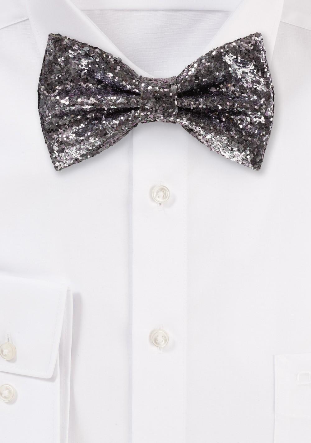 Lilac Glitter Bow Tie silver gray metallic bowties