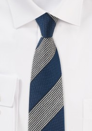 Navy Retro Striped Skinny Tie knit woven textured vintage striped mens tie