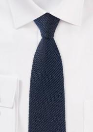 Knit Texture Skinny Tie in Navy