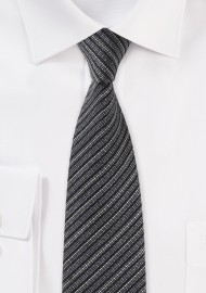 Gray Striped Tie in Knit Texture