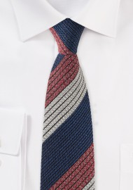 Retro Striped Tie in Knit Texture
