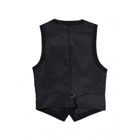 Women's Uniform Suit Vest Back in Solid Black