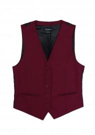 Women's Suit Vest in Deep Crimson Red Front