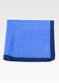 French Blue Hanky with Navy Polka Dots