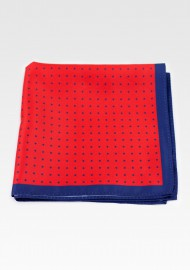 Bright Red and Navy Dotted Suit Pocket Square