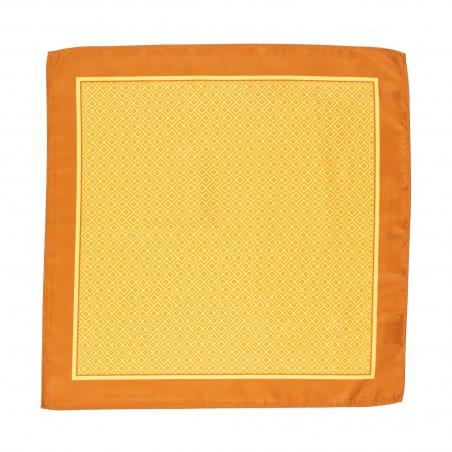 Geometric Print Suit Pocket Square in Marigold and Banana Dafadil