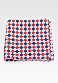 Red, Navy, White Harlequin Plaid Pocket Square